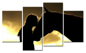 SmartWallArt@ -4 Piece Wall Art Painting The Beautiful Silhouette Of A Girl Kising A Horse With Golden Sunset Picture On Canvas Stretched By Wooden frames-For Home Modern Living Room Decor Hang Up Fairly Easily
