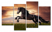 SmartWallArt@ -4 Piece Wall Art Painting Brown Horse Jumps On Grass And Yellow Flowers Picture On Canvas Stretched By Wooden frames-For Home Modern Living Room Decor Hang Up Fairly Easily