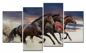 SmartWallArt@ -4 Piece Wall Art Painting Three Free Running Horses And Flaming Cloud Picture On Canvas Stretched By Wooden frames-For Home Modern Living Room Decor Hang Up Fairly Easily