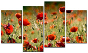 SmartWallArt@ -4 Piece Wall Art Painting Corn Poppy Field In The Sunshine Picture -For Home Modern Decor