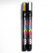 Uni Posca Paint Marker PC-3M Gold & Silver, 2 pens per Pack(Japan Import) [Komainu-Dou Original Package]