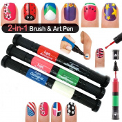 Nail Art Pen Hot Designs Drawing Dots Lines 2 in 1 Varnish Tip Polish 6 Colours