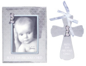 "Bundle of 2 Roman ""Bless This Precious Child"" Items - Baby Boy Wall Cross and Photo Frame"