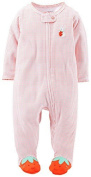 Carter's Baby Girls' Cotton Zip-up Sleep & Play (Newborn, Coral Strawberry) Colour: Strawberry Size