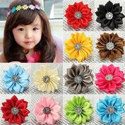 Baby Girls Satin Ribbon Polygonal Flowers Diamond Accessories