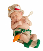 Pinbo Baby Photography Prop Crochet Fishing Fisherman & Fish Hat Nappy Shoes