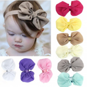FEITONG(TM) 9PCS Lovely Babys Girls Chiffon Flower Elastic Headband Photography Headbands