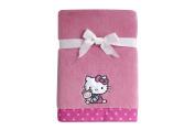 Sanrio Hello Kitty Cute as a Button Coral Fleece Blanket, Pink/White