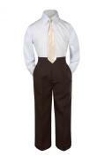 Leadertux 3pc Formal Baby Toddler Boy Champagne Necktie Brown Pants Suit Set S-7