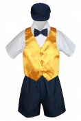 Leadertux 5pc Formal Baby Toddler Boy Yellow Vest Navy Blue Shorts Suit Hat S-4T