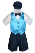 Leadertux 5pc Formal Baby Toddler Boys Turquoise Vest Navy Shorts Suits Hat S-4T (S: