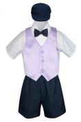 Leadertux 5pc Formal Baby Toddler Boys Lilac Vest Navy Blue Shorts Suit Hat S-4T