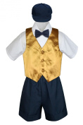 Leadertux 5pc Formal Baby Toddler Boys Gold Vest Navy Blue Shorts Suits Hat S-4T
