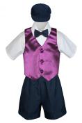 Leadertux 5pc Formal Baby Toddler Boys Eggplant Vest Navy Shorts Suits Hat S-4T (M: