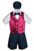 Leadertux 5pc Formal Baby Toddler Boys Burgundy Vest Navy Shorts Suits Hat S-4T