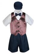 Leadertux 5pc Formal Baby Toddler Boys Brown Vest Navy Blue Shorts Suit Hat S-4T