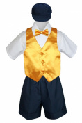 Leadertux 5pc Baby Toddler Boy Yellow Vest Bow Tie Set Navy Shorts Suit Hat S-4T