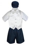 Leadertux 5pc Baby Toddler Boys White Vest Bow Tie Set Navy Shorts Suit Hat S-4T