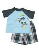 Toughskins Infant & Toddler Boys Jet Squadron Blue T-Shirt Plaid Shorts Set