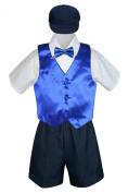Leadertux 5pc Baby Toddler Boy Royal Blue Vest Bow Tie Navy Shorts Suit Hat S-4T (S: