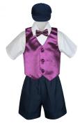 Leadertux 5pc Baby Toddler Boys Eggplant Vest Bow Tie Navy Shorts Suits Hat S-4T