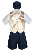 Leadertux 5pc Baby Toddler Boys Champagne Vest Bow Tie Navy Shorts Suit Hat S-4T