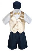 Leadertux 5pc Baby Toddler Boys Champagne Vest Bow Tie Navy Shorts Suit Hat S-4T
