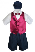 Leadertux 5pc Baby Toddler Boys Burgundy Vest Bow Tie Navy Shorts Suits Hat S-4T