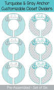 Turquoise & Grey Anchor Plastic Closet Dividers - Infant Closet Dividers