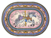 Joy Carpets Kid Essentials Infants & Toddlers Oval Carousel Rug, Pink, 0.9m x 1.5m