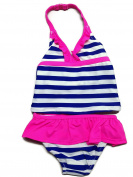 OshKosh B'Gosh Baby Girls' Cobalt Blue Stripe Pink Ruffle Tankini Swim Suit