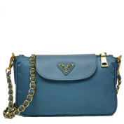 Prada Turquoise Blue Tessuto Saffiano Nylon Leather Chain Handle Crossbody Shoulder Bag BT0779