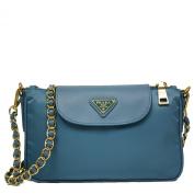 Prada Turquoise Blue Tessuto Saffiano Nylon Leather Chain Handle Crossbody Shoulder Bag BT0779