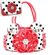 Polka Dot Red Flower Rhinestone Purse W Matching Wallet