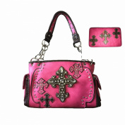 Pink Rhinestone Studde Cross Leather Satchel Purse with Matching Wallet,one Set.