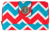 Kiss Hock Pink Blue Chevron Trifold Womens Wallet