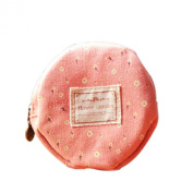 Tonsee Floral Fabric Circular Zipper Coin Purse Wallets