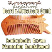 The Wolf Moon® Rosewood Sandalwood Handmade Beard - Moustache Comb, in a Hemp Sacking Travel Bag. Naturally Scented Ecologically Plantation Harvested