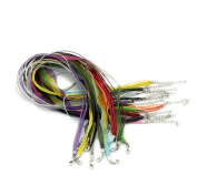 """Housweety Organza Ribbon Waxen Cord Lobster Clasp Necklaces Mixed Colour 43.2cm 17"""" 24pcs"""