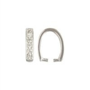 Sterling Silver 2.2mm by 10.5mm U Shape Pinch Bail With CZ Crystals. Sold as - 1 Piece Per Pack