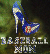 Baseball Mom Heel Blue Rhinestone Transfer Iron On - DIY