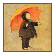 Autumn Showers and an Orange Umbrella By Jessie Willcox Smith Counted Cross Stitch Chart