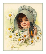 Child of Summer Flower Daisies by Maud Humphrey Bogart Counted Cross Stitch Chart