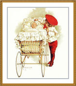 Young Boy looking in Baby Carriage by Maud Humphrey Bogart Counted Cross Stitch Chart