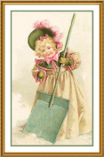 Young Girl Shovelling Snow by Maud Humphrey Bogart Counted Cross Stitch Chart