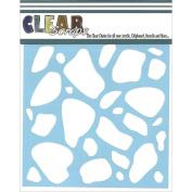 Clear Scraps CSSM6-STONE Translucent Plastic Film Stencil, Stones, 15cm x 15cm