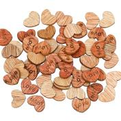 100pcs Love Heart Shape Wooden Sewing Buttons Scrapbooking DIY Wedding Decoration