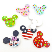 5x Arts Crafts Flatback Colourful Lovely Clothing Accessory Decoration Handmade Cute Wooden Notions Sewing Wood Buttons Supplies NK0217 Mickey Head Shape