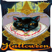 cushion cover throw pillow case 46cm Halloween witch black cat broom gold bell both sides image zipper