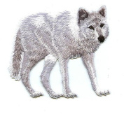 Arctic White Wolf Iron On Embroidered Patch
